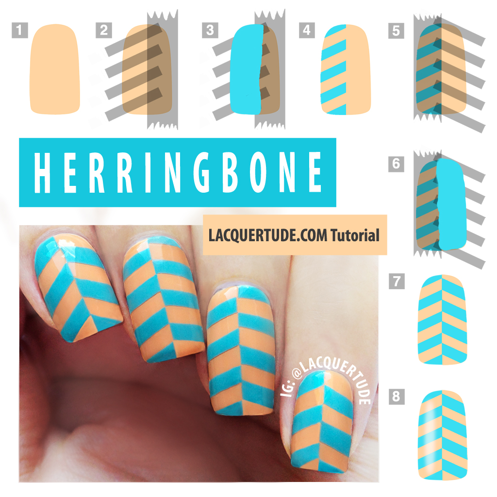 Herringbone Nail Art Tutorial Feat Lime Crime Peaches Cream