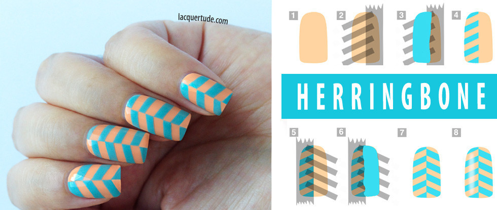 Herringbone Nail Art & Tutorial Feat: Lime Crime Peaches Cream & Once in a Blue Mousse