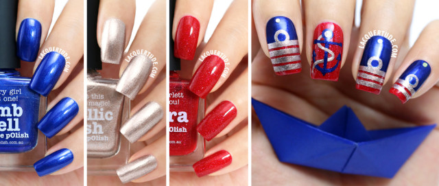 piCture pOlish Nail Art: Remembrance Day Inspired Navy Insignia feat. Metallic Mush, Bombshell & O'Hara