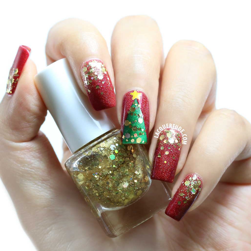 Lacquertude_FUN Gold Mark Nail Art