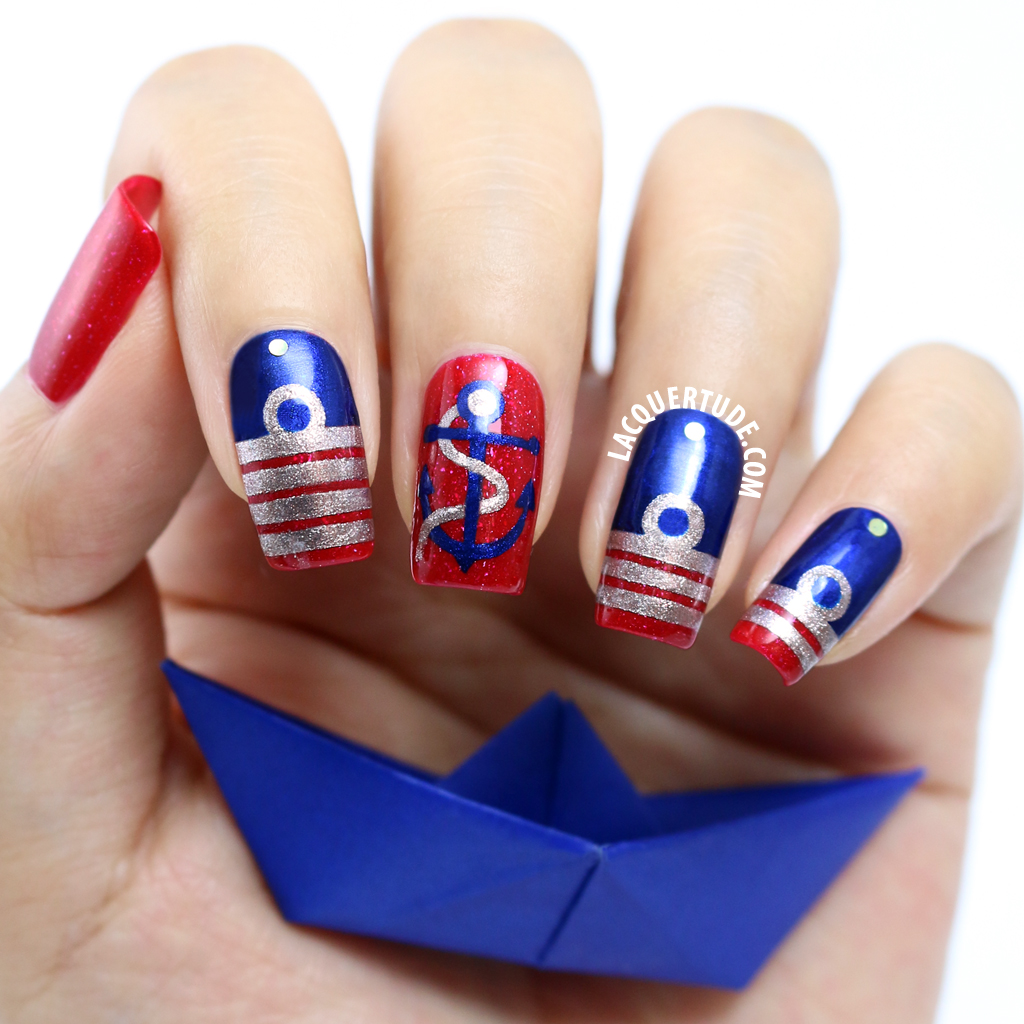 Picture Polish Nail Art Remembrance Day Inspired Navy Insignia Feat