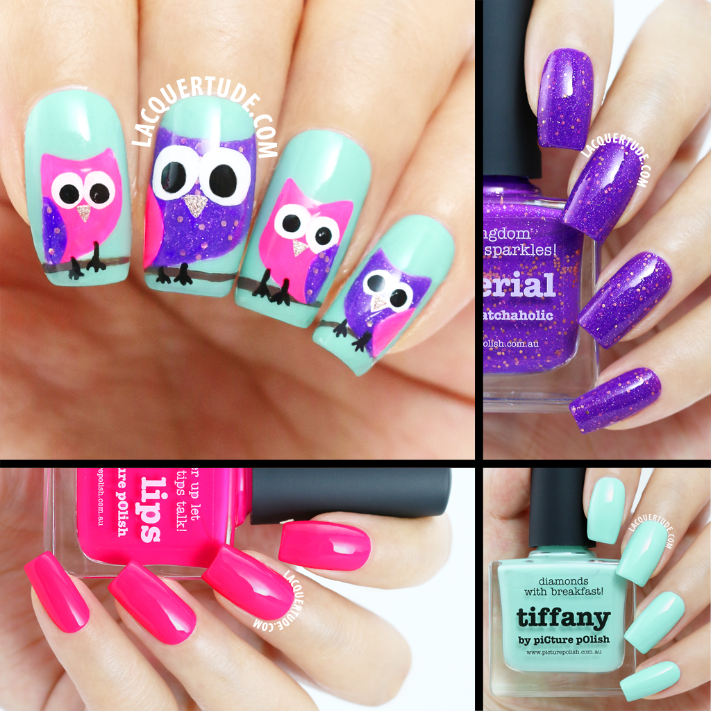 Owl Nail Art Collage