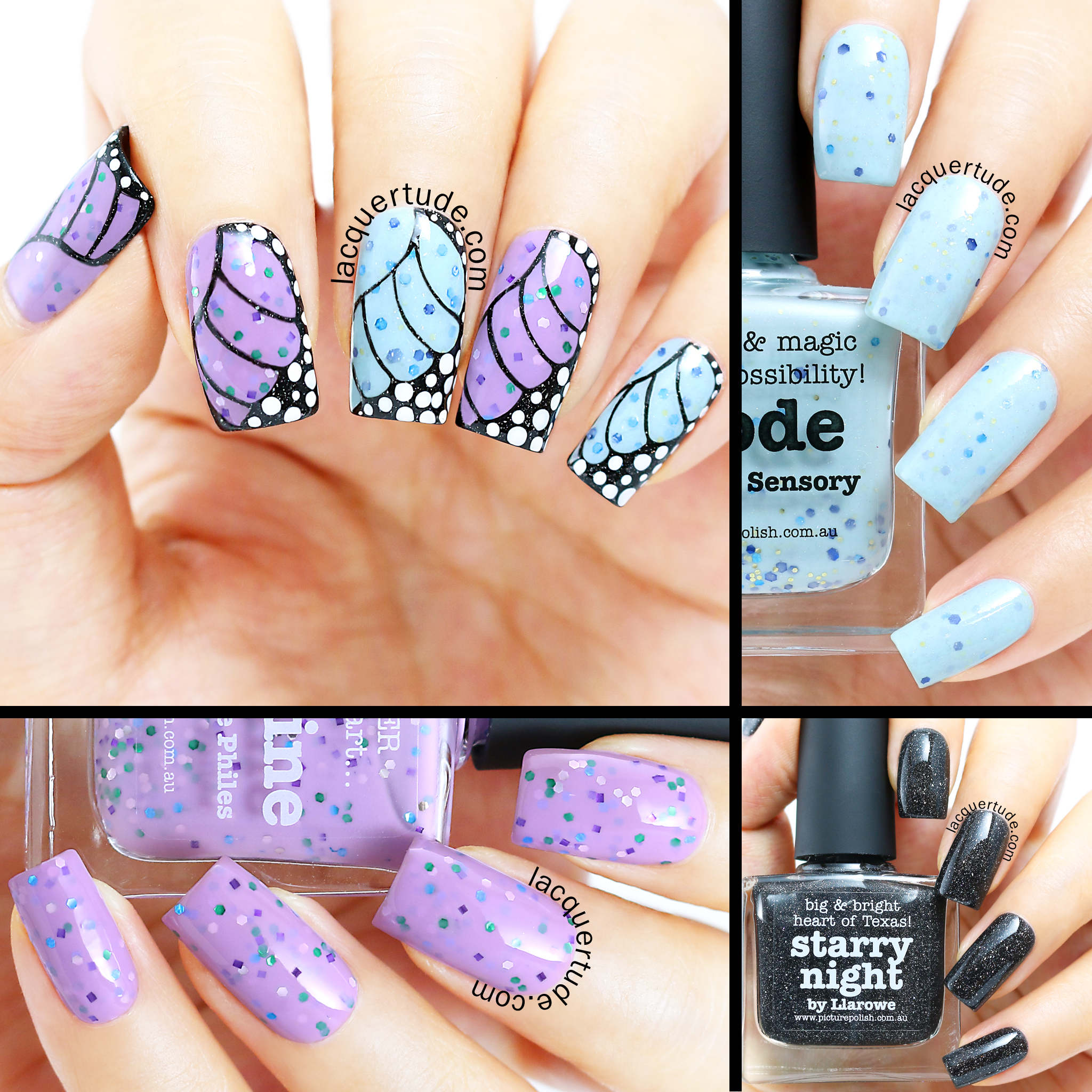 Fairy Butterfly Wings Nail Art Collage