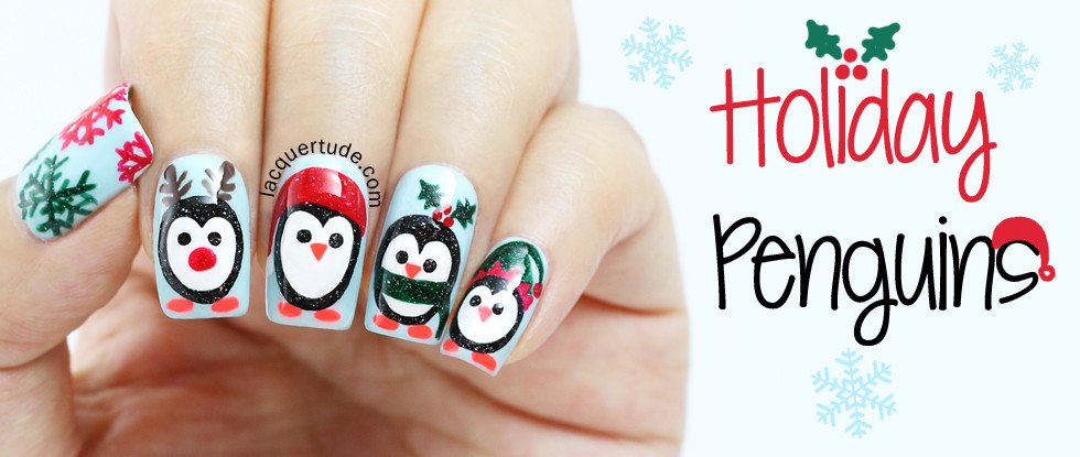 Holiday Penguins Nail Art & Tutorial Feat. piCture pOlish Sky, Starry Night, Malt Teasers, O'Hara, Kryptonite & Sunset