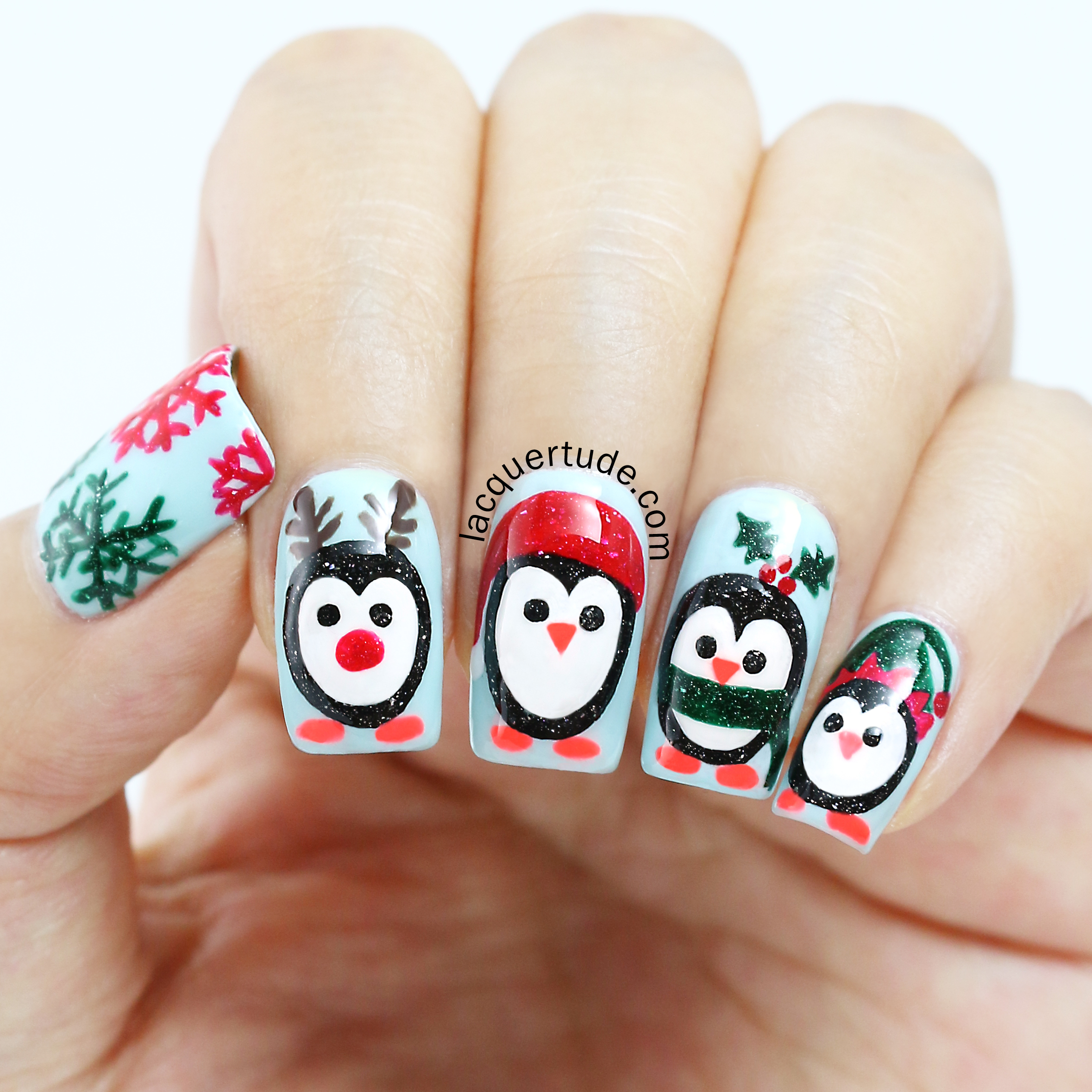 Lacquertude Holiday Penguins Nail Art