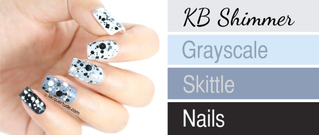 KBShimmer Grayscale Swatch & Review + Skittle Nail Art