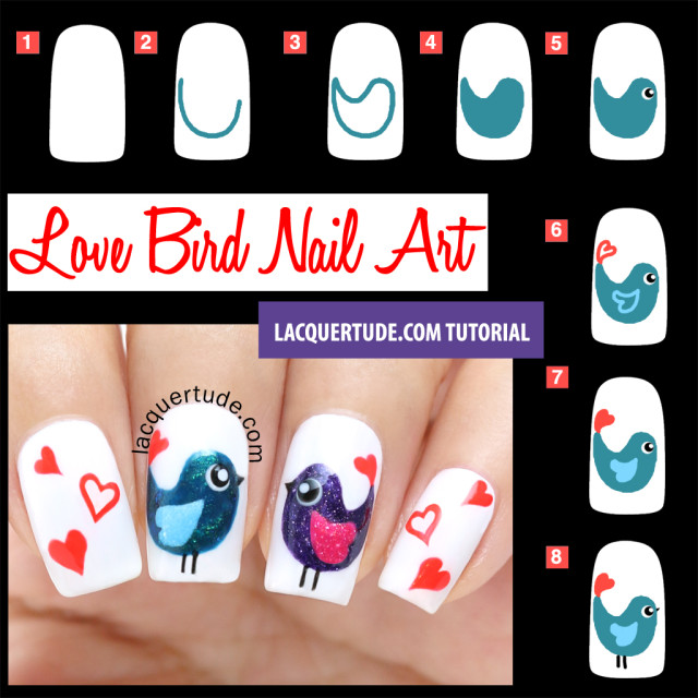 Tutorial: Valentine's Day Love Birds Nail Art & BornPrettyStore Nail Art Brushes Review