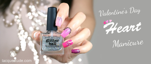 Valentine's Day Heart Manicure Feat. piCture pOlish Glitter Ball, Bright White, Fairy Floss, Candy & Flirt