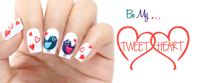 Valentine's Day Love Birds Nail Art & Tutorial: Feat. piCture pOlish Love, Attitude & Pshiiit