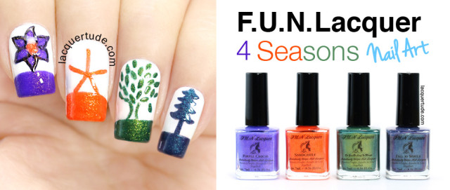 Four Seasons Nail Art Featuring: FUN Lacquer 4 Seasons Collection