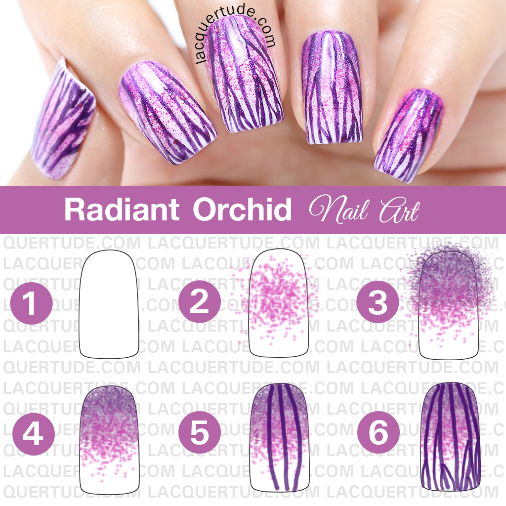 Radiant Orchid Nail Petals Nail Art Tutorial Featuring Picture