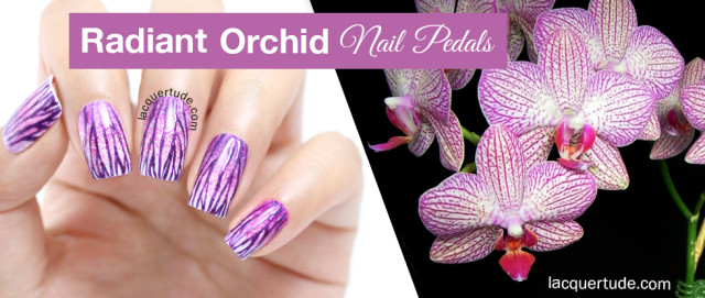 Radiant Orchid Nail Petals: Nail Art & Tutorial Featuring piCture pOlish Flirt, Focus & Ultra Violence