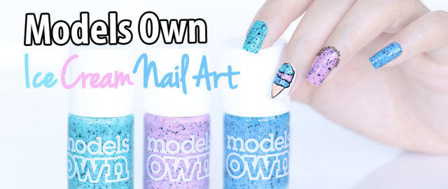Ice Cream Nail Art Featuring Models Own Speckled Eggs: Magpie, Dove & Duck