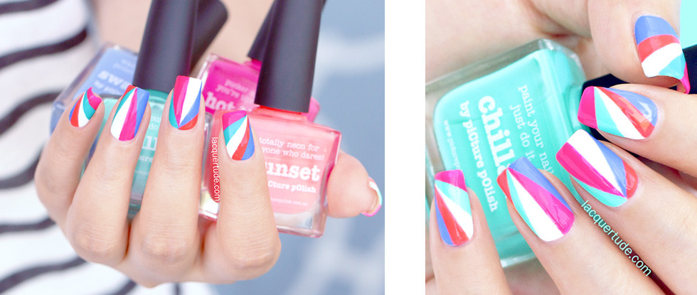 Summer Beaming Triangles Nail Art & Tutorial