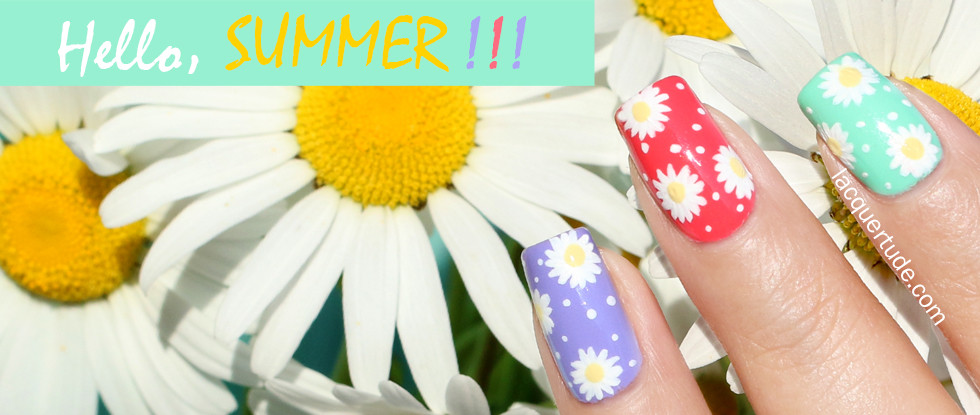 Summer Daisies Nail Art with Picture Polish